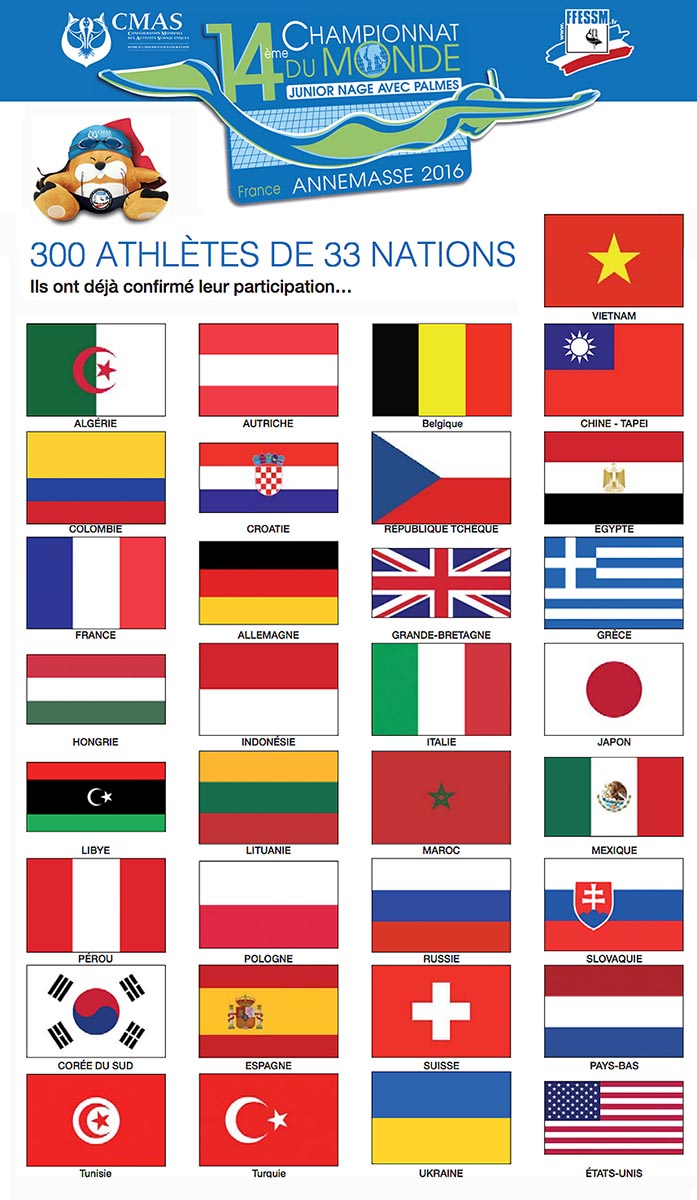 WCJ 33 COUNTRIES FLAGS