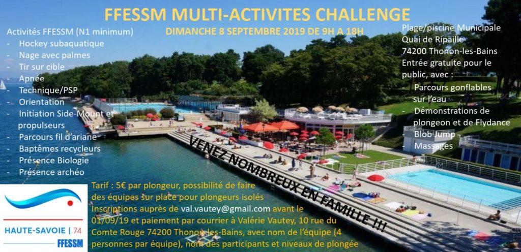 Challenge multi activités FFESSM 74 @ Piscine Thonon-les-Bains